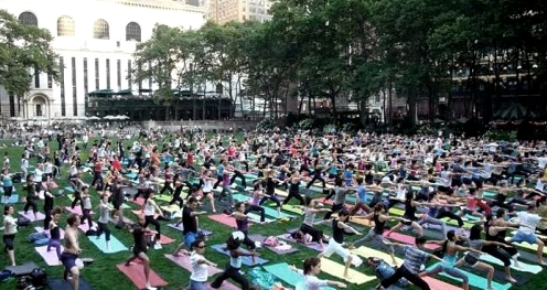 Free Yoga in Bryant Park in NYC is offered weekly in the summer.