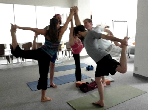 Team Natarajasana with Justin Rosenstein at Asana via asana facebook page.