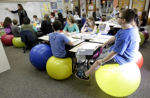 Students Sit On Yoga Balls